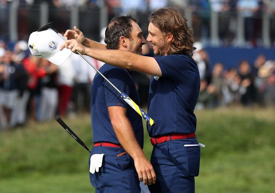 Francesco Molinari (left) and Tommy Fleetwood celebrate victory on day one of the Ryder Cup at Le Golf National (David Davies/PA) (PA Archive)