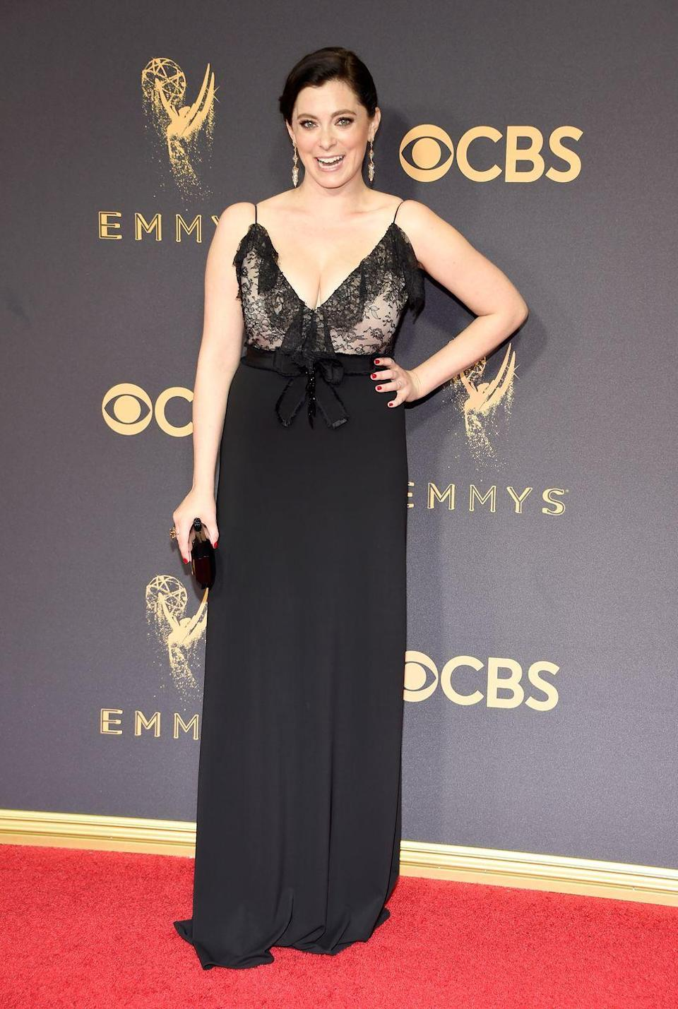 """<p><em>Crazy Ex-Girlfriend</em> creator and actress Rachel Bloom may have a Golden Globe under her belt for her hit comedy show, but the star has admitted she still struggles to find a designer to her dress her for red carpet events.</p><p>Arriving at the 2017 Emmy Awards, Bloom revealed <a href=""""https://www.harpersbazaar.com/uk/fashion/fashion-news/news/a43862/rachel-bloom-emmys-dress/"""" rel=""""nofollow noopener"""" target=""""_blank"""" data-ylk=""""slk:she ended up buying the £2,500 Gucci dress"""" class=""""link rapid-noclick-resp"""">she ended up buying the £2,500 Gucci dress</a> she was wearing, telling <a href=""""https://twitter.com/pretareporter/status/909549260303081472"""" rel=""""nofollow noopener"""" target=""""_blank"""" data-ylk=""""slk:Giuliana Rancic on the E! red carpet"""" class=""""link rapid-noclick-resp"""">Giuliana Rancic on the E! red carpet</a>: """"I've said in an interview before, 'Oh, sometimes it's hard for places to lend me dresses because I'm not, like, a size 0,' but also, I can afford it, so it's okay.""""</p><p><span class=""""redactor-invisible-space"""">She later clarified that she had problem with the high-end designer, saying on <a href=""""https://twitter.com/Racheldoesstuff/status/909574888955846658"""" rel=""""nofollow noopener"""" target=""""_blank"""" data-ylk=""""slk:Twitter"""" class=""""link rapid-noclick-resp"""">Twitter</a>: """"To be clear: we didn't ask Gucci to dress me because they loan to very few. </span></p><p><span class=""""redactor-invisible-space"""">""""That being said, pickings are still slim for non-sample size ladies.""""</span></p>"""