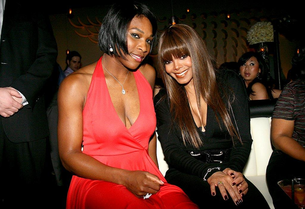 "Serena Williams and Janet Jackson showed off their sleek 'dos and sexy cleavage at STK LA. Johnny Nunez/<a href=""http://www.wireimage.com"" target=""new"">WireImage.com</a> - February 10, 2008"