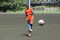 Chicco Sassou, 32, does physical training during the week and plays amateur games on weekends