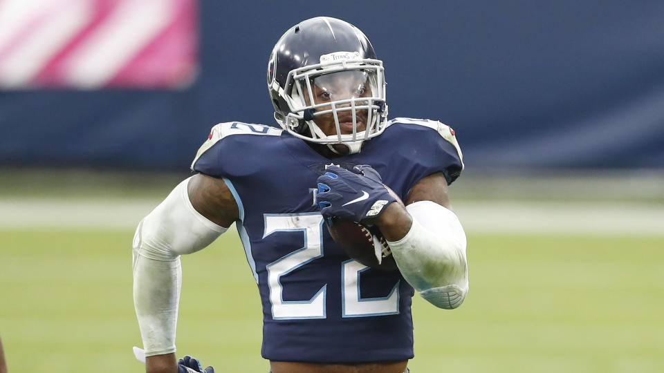 Tennessee Titans running back Derrick Henry will try to keep his team undefeated. (AP Photo/Wade Payne)
