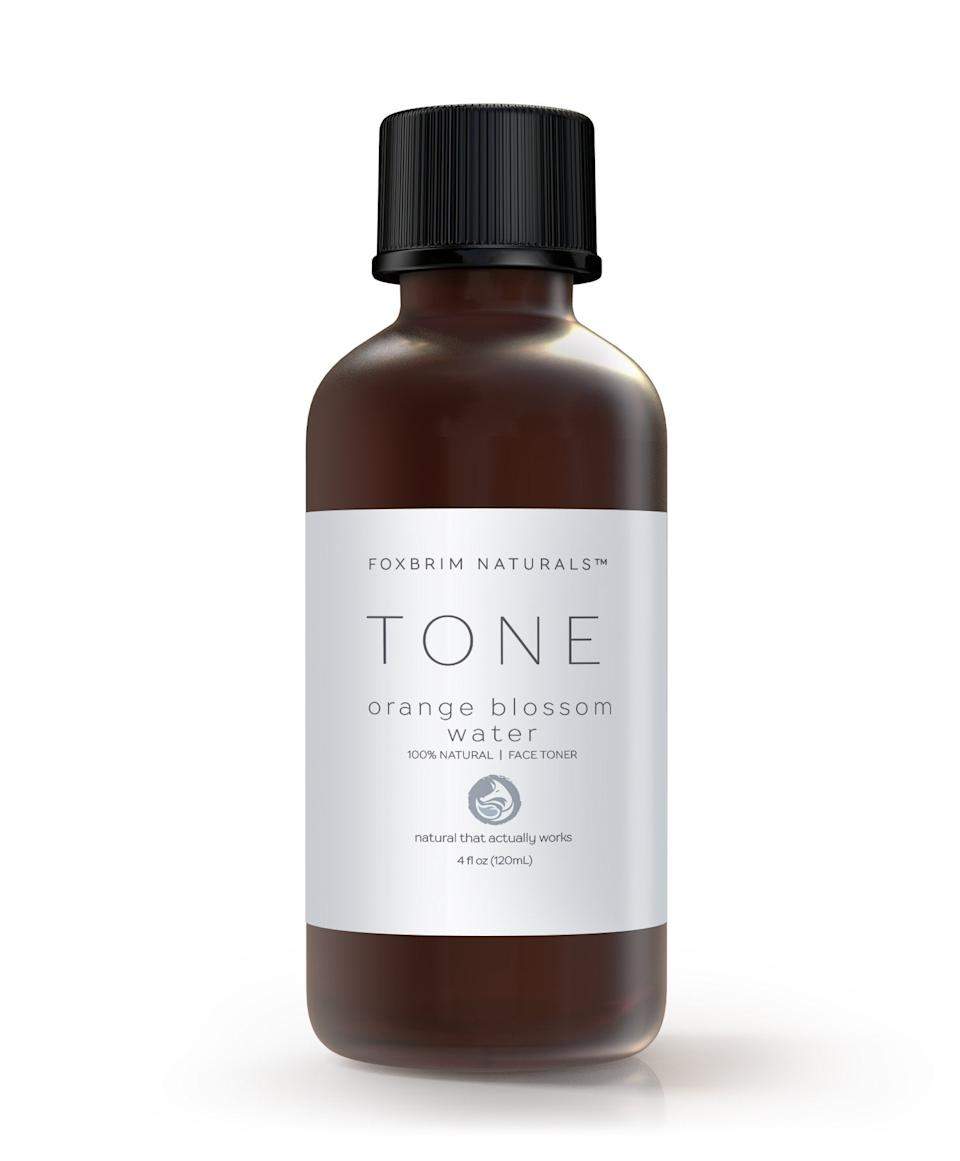 """<h2>Foxbrim Orange Blossom Water Toner</h2><br><br>Green uses this 100% natural toner made of orange blossom water to balance her skin. """"This comes in a glass bottle, so when I finish the liquid, I save the packaging for any potential DIY projects or plant propagation,"""" she says. <br><br><strong>Foxbrim</strong> Orange Blossom Water Toner, $, available at <a href=""""https://go.skimresources.com/?id=30283X879131&url=https%3A%2F%2Fwww.foxbrim.com%2Fproducts%2Forange-blossom-water-toner"""" rel=""""nofollow noopener"""" target=""""_blank"""" data-ylk=""""slk:Foxbrim"""" class=""""link rapid-noclick-resp"""">Foxbrim</a>"""