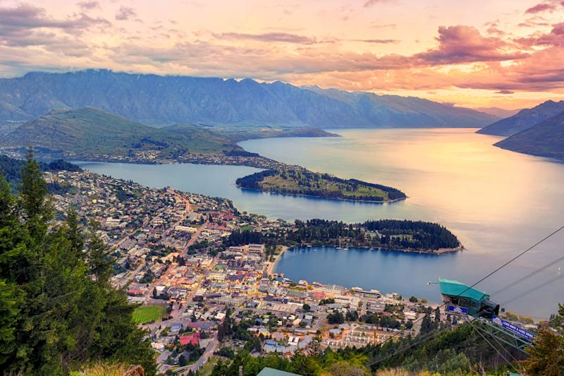New Zealand Queenstown is pictured at sunset.