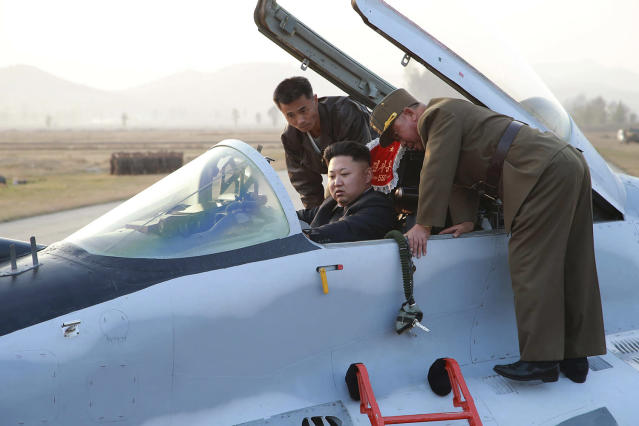 <p>North Korean leader Kim Jong Un sits in an airplane as he guides a flight drill for the inspection of airmen of the Korean People's Army (KPA) Air and Anti-Air Force in this undated photo. (KCNA/Reuters) </p>