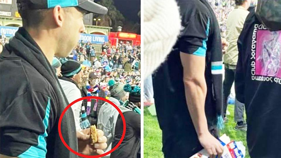 A Port Adelaide fan (pictured left) eating dry Weetbix during an AFL game.