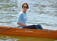 <p>Kate, in theme, wore nautical stripes as she rowed against Prince William during a visit to Germany. </p>