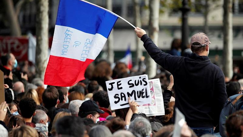 'We are all Samuel': Thousands gather in Paris to pay respects to murdered teacher