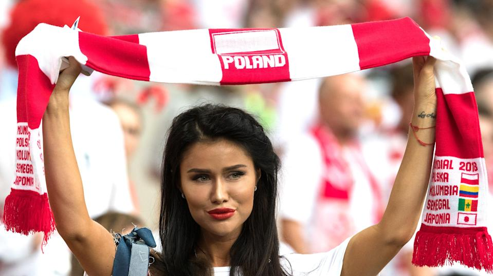 <p>Fans of Poland are seen during the 2018 FIFA World Cup Russia group H match between Poland and Senegal at Spartak Stadium on June 19, 2018 in Moscow, Russia. (Photo by Lars Baron – FIFA/FIFA via Getty Images) </p>