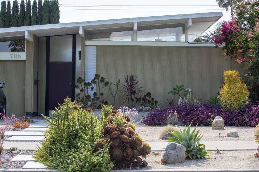 Drought tolerant landscaping gives this Eichler home a 21st century feel.