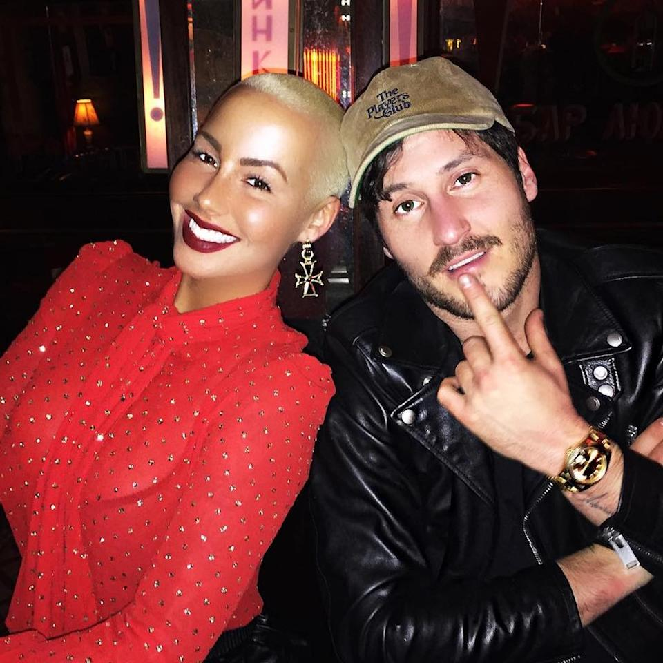 """<p>Amber Rose and Val Chmerkovskiy, who coupled up in October 2016 after she met him while competing on <i>Dancing With the Stars</i>, were <a rel=""""nofollow"""" href=""""https://www.instagram.com/p/BN7MnUADw7Y/?taken-by=amberrose"""">hot and heavy</a> for a moment. In December 2016, <i>People</i> reported that their relationship had """"turned official."""" She even returned to social media after quitting just to post a picture of her """"bae."""" However, their relationship <a rel=""""nofollow"""" href=""""https://www.yahoo.com/celebrity/amber-rose-val-chmerkovskiy-break-190006417.html"""">ended abruptly</a> in mid-February. (Photo: Instagram) </p>"""