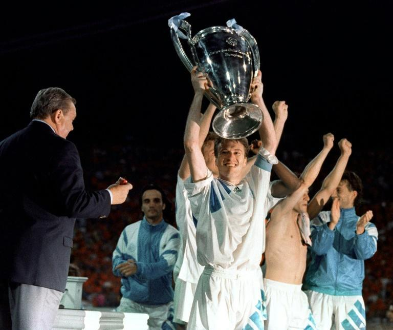 We are the champions: Didier Deschamps was the first player to host the trophy for he renamed Champions League after Marseille beat AC Milan in Munich in May 1993