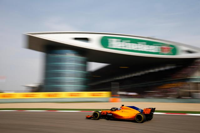 Tangerine scream: Fernando Alonso on his way to another points finish, at the 2018 Chinese Grand Prix