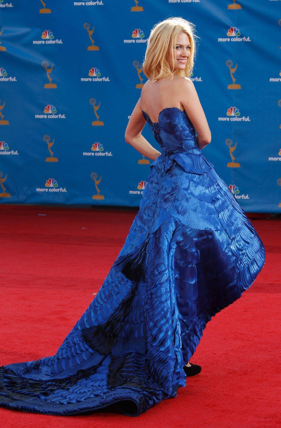 <p>Back when she left her house (if you're not following her delightfully unhinged quarantine content on IG, you should be), January Jones wore this feather-like high-low cobalt-blue gown. </p>