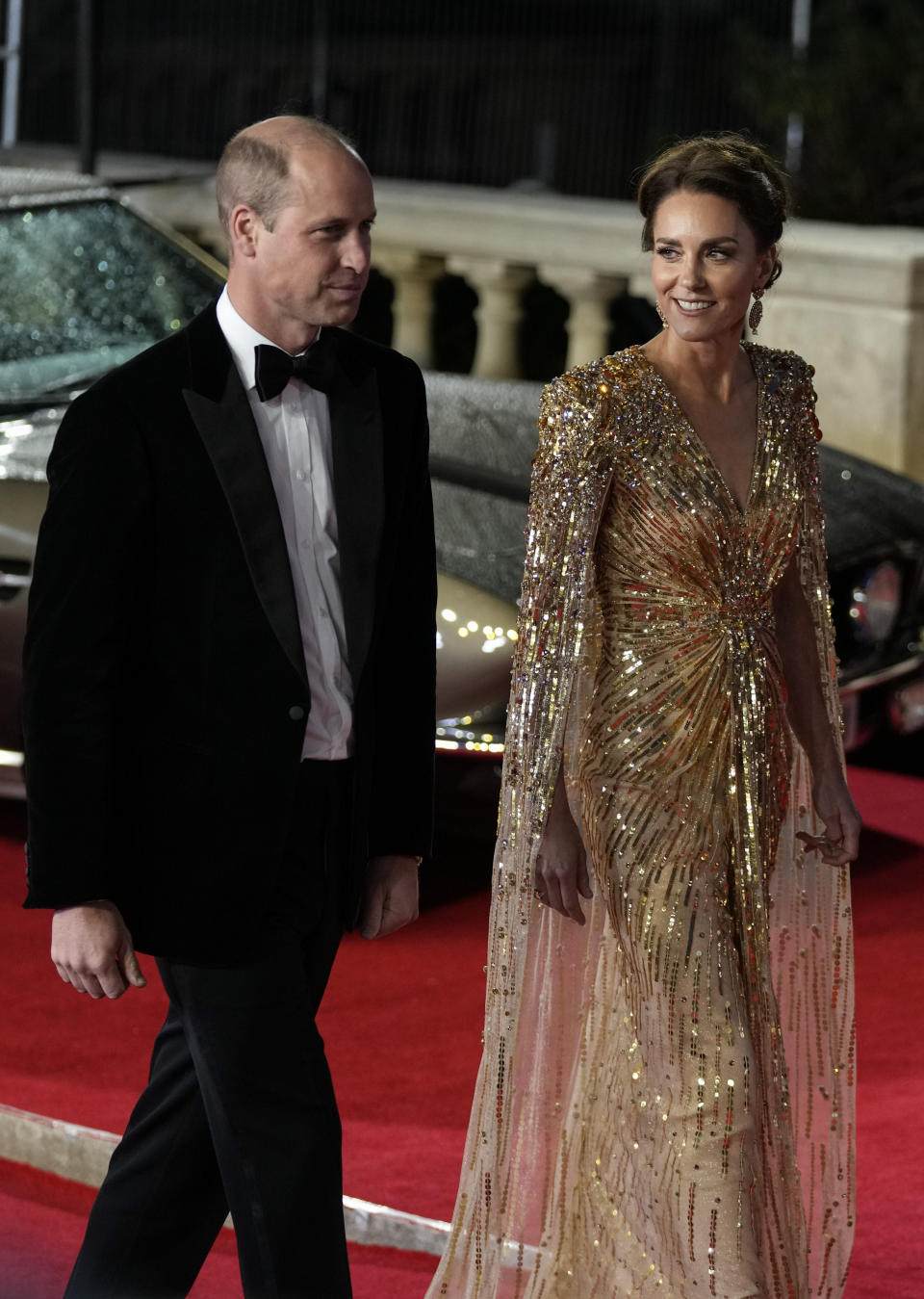 Britain's Prince William, left, and his wife Kate the Duchess of Cambridge arrive for the World premiere of the new film from the James Bond franchise 'No Time To Die', in London Tuesday, Sept. 28, 2021. (AP Photo/Matt Dunham)