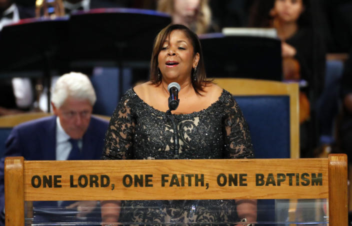 """Alice McAllister Tillman performs """"Ave Maria"""" during the funeral service for Aretha Franklin at Greater Grace Temple, Friday, Aug. 31, 2018, in Detroit. Franklin died Aug. 16, 2018 of pancreatic cancer at the age of 76. (AP Photo/Paul Sancya)"""