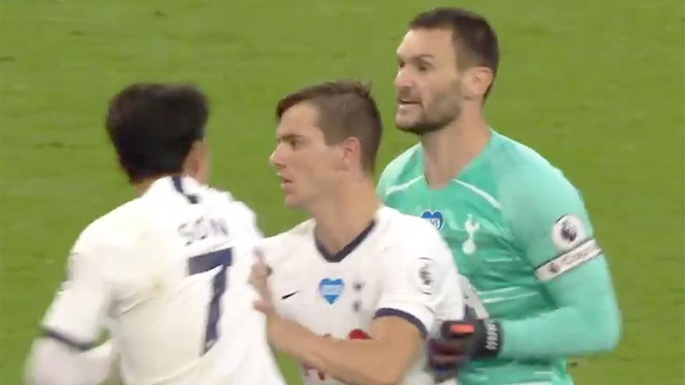 Pictured here, an ugly spat between Spurs teammates Hugo Lloris and Son Heung-min.
