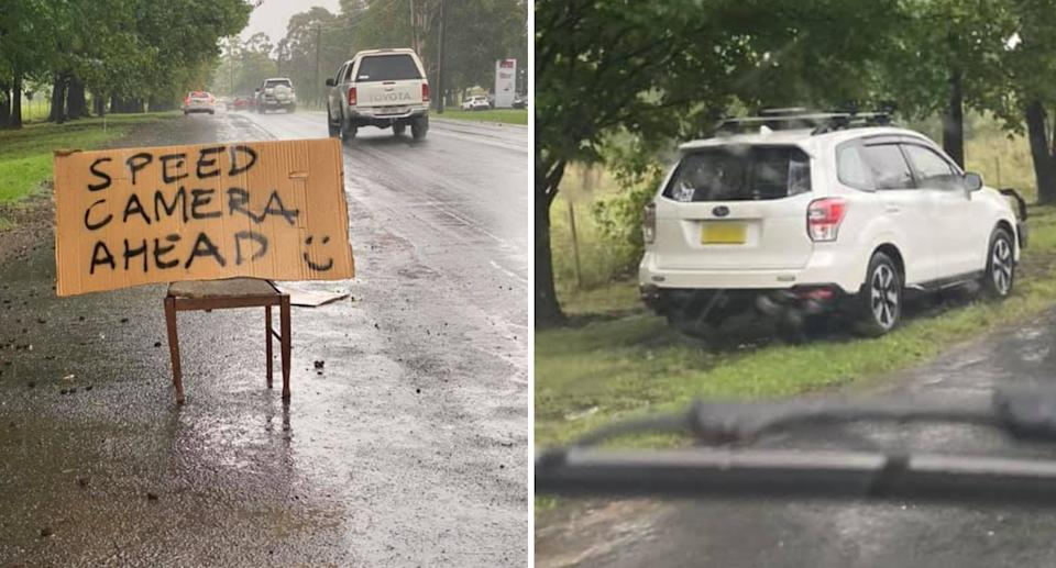 A sign warning people about a speed camera is pictured left. Right is a photo of the unmarked police car with the speed camera inside.