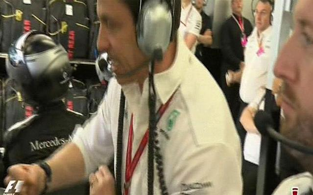 <span>Toto Wolff slams his fist on the desk</span> <span>Credit: SKY SPORTS F1 </span>