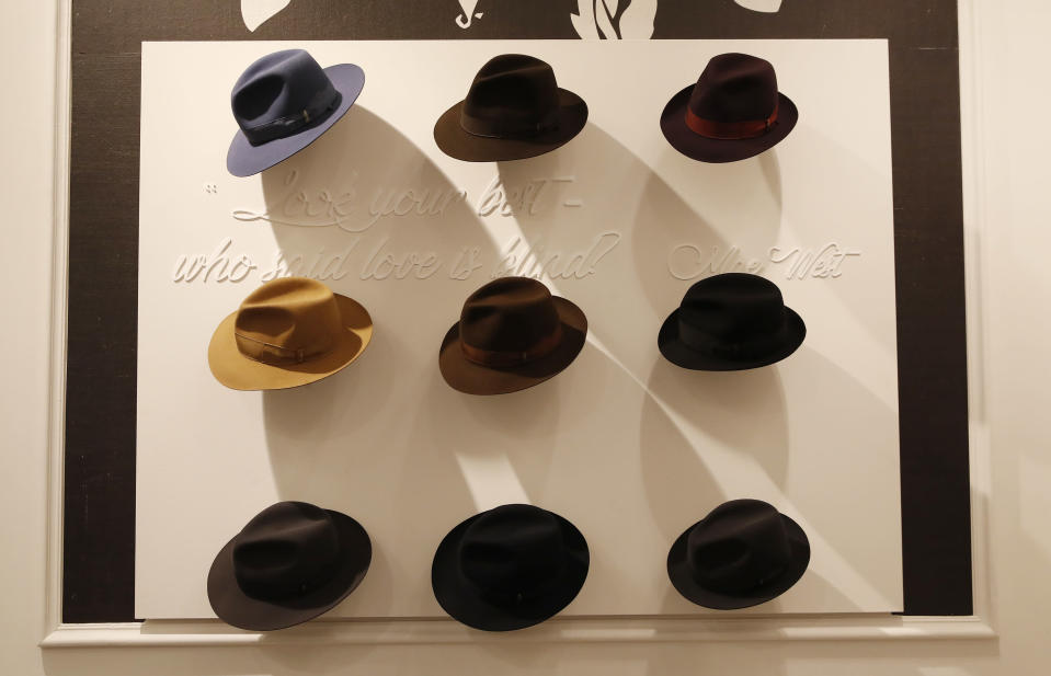 A view of creations part of the Borsalino women's and men's Fall Winter 2021-22 collection, unveiled during the Fashion Week in Milan, Italy, Wednesday, Feb. 24, 2021. (AP Photo/Antonio Calanni)