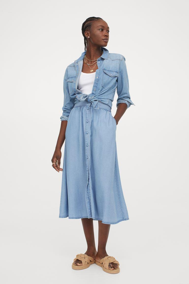 <p>If you're looking for a midi length choice, then get the <span>H&amp;M Calf-length Skirt</span> ($30).</p>