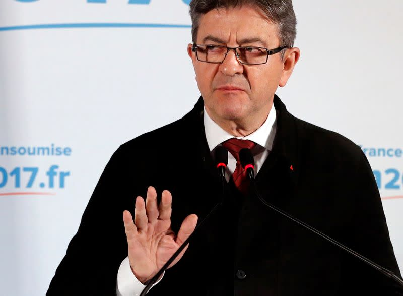 FILE PHOTO: Jean-Luc Melenchon, candidate of the French far-left Parti de Gauche and candidate for the French 2017 presidential election, speaks to supporters after the first round of 2017 French presidential election in Paris