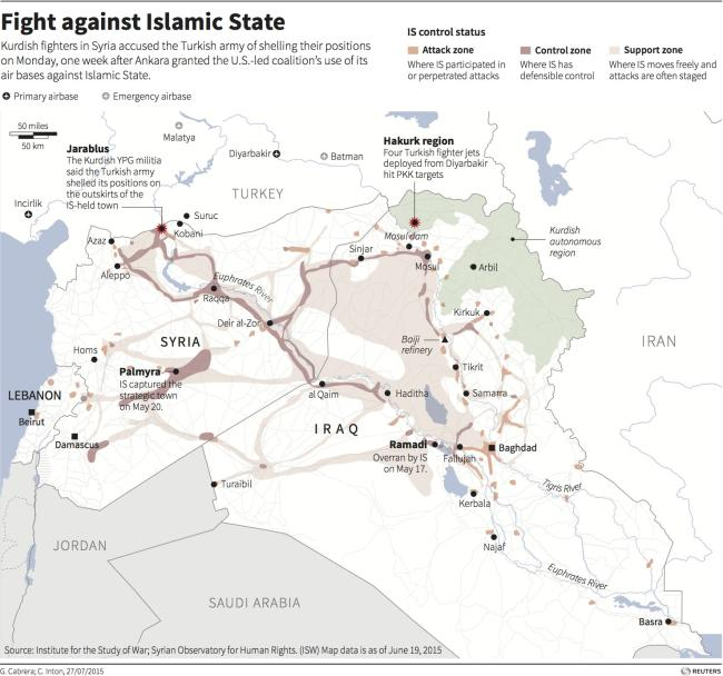 ISIS map as of July 27 2015