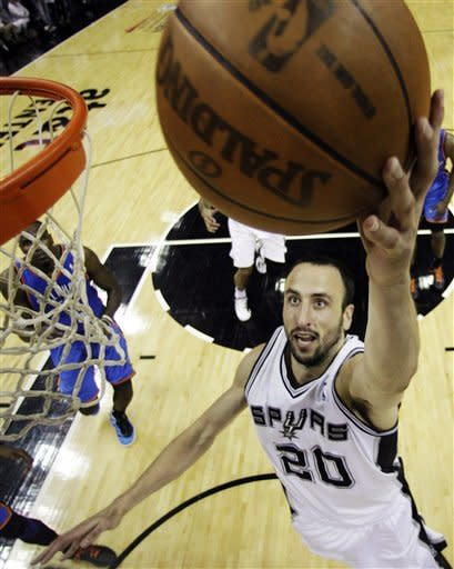 San Antonio Spurs shooting guard Manu Ginobili (20), of Argentina, shoots against the Oklahoma City Thunder during the second half of Game 1 in their NBA basketball Western Conference finals playoff series, Sunday, May 27, 2012, in San Antonio. San Antonio won 101-98. (AP Photo/Eric Gay, Pool)