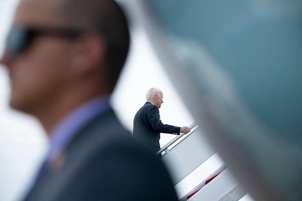 US President Joe Biden boards Air Force One at Andrews Air Force Base before departing for the UK and Europe to attend a series of summits (AFP via Getty Images)