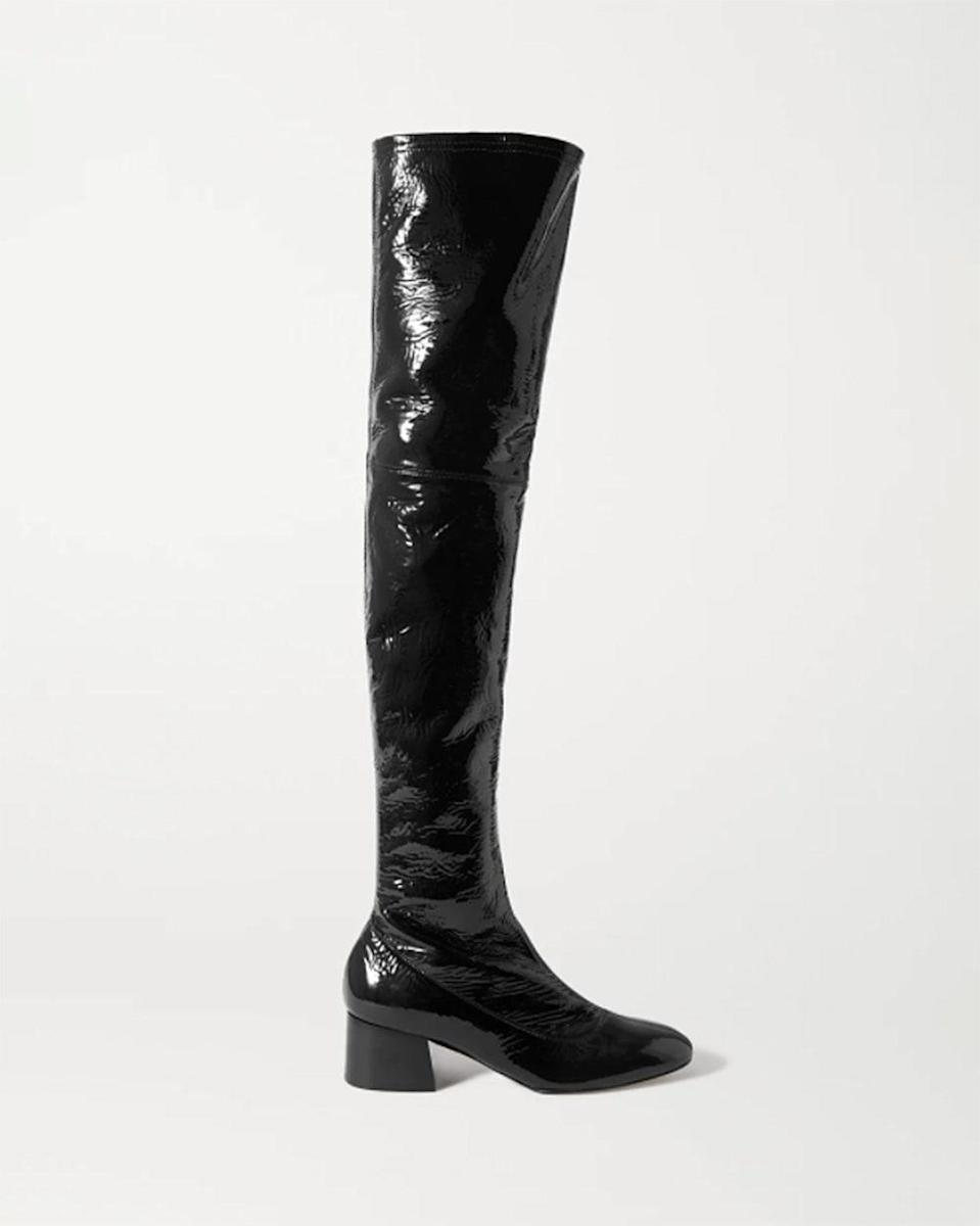 """""""I've been lusting after these boots all season. The mid-heel is perfect for day to night, which I'm hoping will be required of my dressing needs when it's time to wear boots again! I plan on living out my Fran Fine fashion dreams by pairing these with a vintage mini skirt suit."""" - <em>SG</em> $1780, Net-a-Porter. <a href=""""https://www.net-a-porter.com/en-us/shop/product/khaite/shoes/knee-high/sedona-crinkled-patent-leather-over-the-knee-boots/31432202864841717"""" rel=""""nofollow noopener"""" target=""""_blank"""" data-ylk=""""slk:Get it now!"""" class=""""link rapid-noclick-resp"""">Get it now!</a>"""