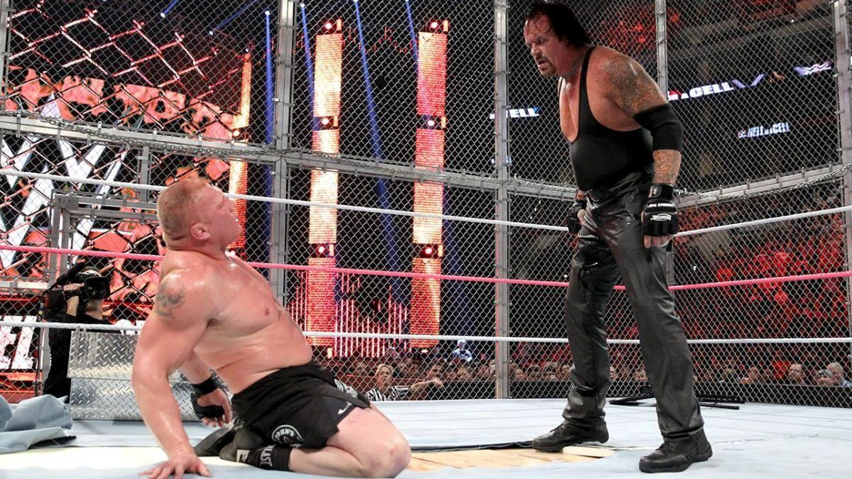 "<p>The entire Lesnar/Taker trilogy is over-maligned, including this match, but a classic old-school story really was told in three parts. The criticism of ""dick-kicking Old Man Taker"" belies the absolute shock of Lesnar's <a href=""https://www.digitalspy.com/tv/wwe/review/a562778/wrestlemania-xxx-review-the-end-of-an-era-dawn-of-a-new-age-part-two/"" target=""_blank"">Streak-breaking victory at WrestleMania XXX</a>. It was this feud that transitioned Taker into a new role, and this bloody finale underlined the end of the Deadman's immortality.</p><p>Taker <a href=""https://www.digitalspy.com/tv/wwe/news/a664894/wwe-summerslam-2015-as-it-happened-the-undertaker-seeks-revenge-on-brock-lesnar/"" target=""_blank"">got his win back at SummerSlam</a> in controversial circumstances, so his ultimate defeat had to be final, brutal and without comeback. With that final F-5 on to the exposed ring boards, it was. Although the Wyatts' epilogue was fumbled horribly at the following month's <a href=""https://www.digitalspy.com/tv/wwe/news/a774904/wwe-survivor-series-2015-live-blog-review-roman-reigns-undertaker-sheamus/"" target=""_blank"">Survivor Series</a>, on the night it was a suitably creepy finish that moved things on for the Phenom.</p>"