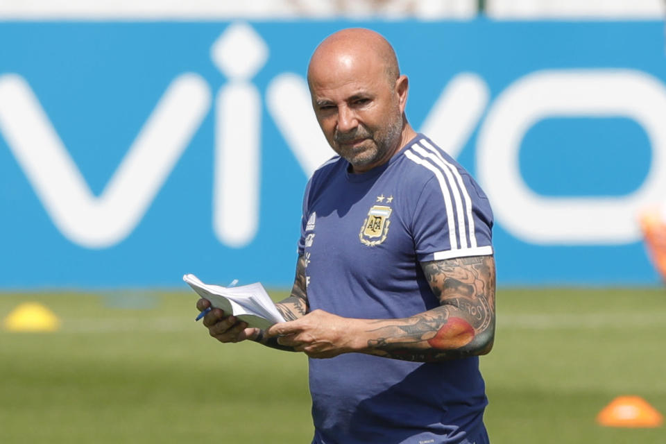 Coach Jorge Sampaoli during a training session of Argentina at the 2018 soccer World Cup in Bronnitsy, Russia, Saturday, June 23, 2018. (AP Photo/Ricardo Mazalan)