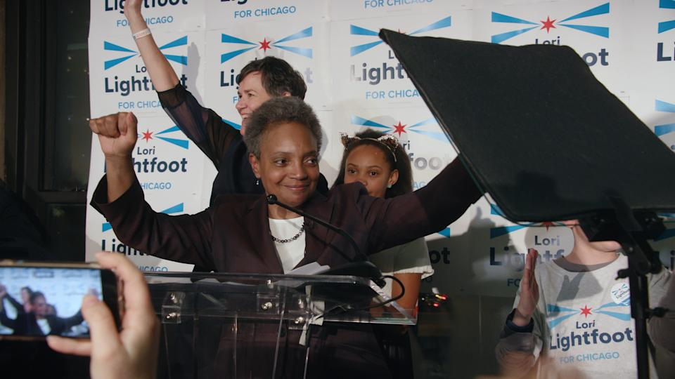 "Lori Lightfoot celebrates a preliminary victory as the Chicago Mayoral race comes to a close.<span class=""copyright"">Chicago Story Film, LLC</span>"