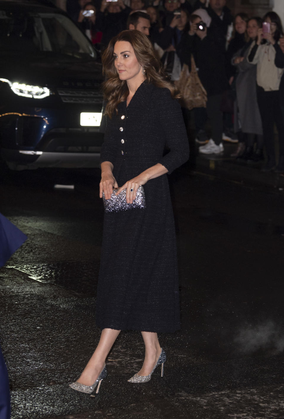 "LONDON, ENGLAND - FEBRUARY 25: Catherine, Duchess of Cambridge attends a charity performance of ""Dear Evan Hansen"" in aid of The Royal Foundation at Noel Coward Theatre on February 25, 2020 in London, England. (Photo by Mark Cuthbert/UK Press via Getty Images)"
