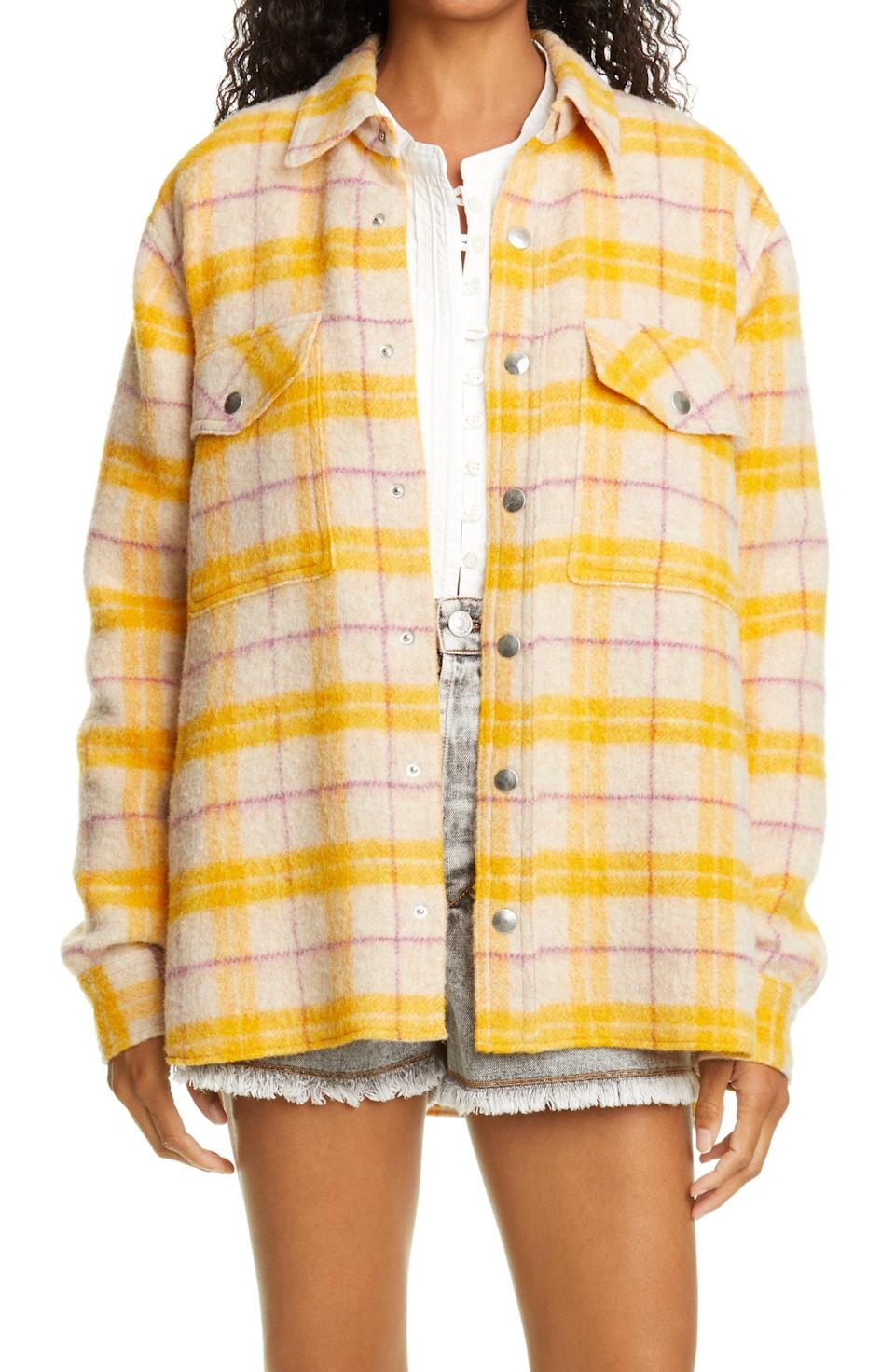 """<p><strong>ISABEL MARANT ETOILE</strong></p><p>nordstrom.com</p><p><strong>$560.00</strong></p><p><a href=""""https://go.redirectingat.com?id=74968X1596630&url=https%3A%2F%2Fwww.nordstrom.com%2Fs%2Fisabel-marant-etoile-faxonli-buffalo-wool-blend-shirt-jacket%2F5789283&sref=https%3A%2F%2Fwww.cosmopolitan.com%2Fstyle-beauty%2Ffashion%2Fg36232237%2Fbest-shackets%2F"""" rel=""""nofollow noopener"""" target=""""_blank"""" data-ylk=""""slk:Shop Now"""" class=""""link rapid-noclick-resp"""">Shop Now</a></p><p>If you're looking for a designer buy you don't regret, might I introduce you to this lemon babe?</p>"""