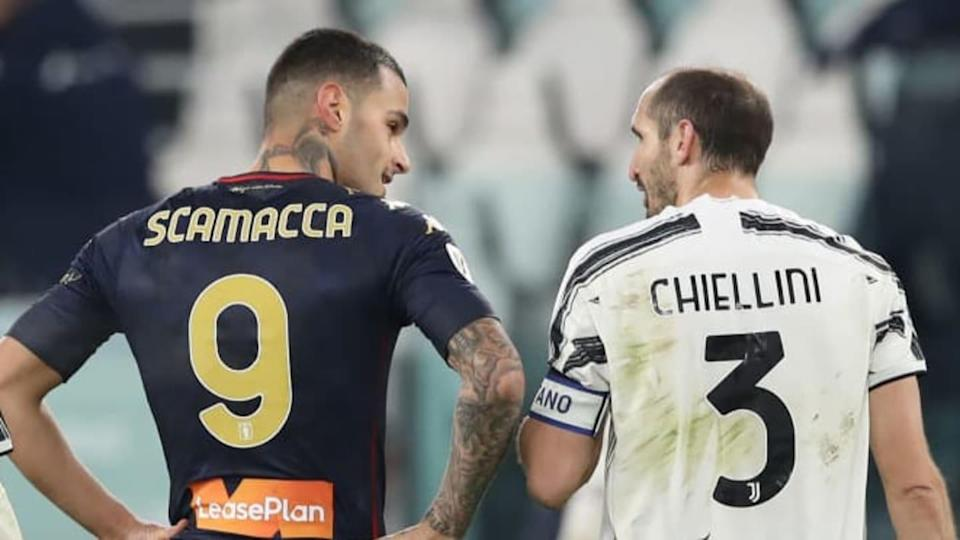 Gianluca Scamacca e Giorgio Chiellini | Jonathan Moscrop/Getty Images
