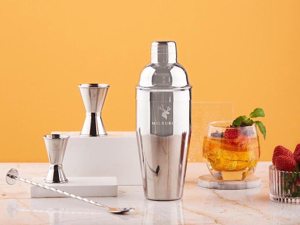 <p>Set them up for happy hour at home with this luxurious <span>Cocktail Shaker Set</span> ($65).</p>