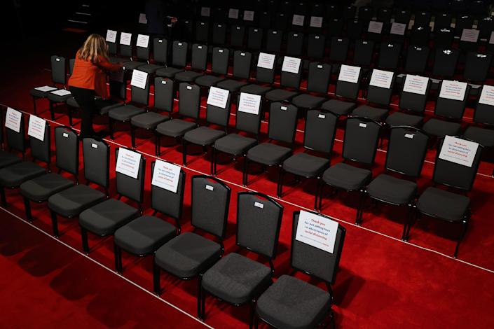 NASHVILLE, TENNESSEE - OCTOBER 22: Signs are posted on chairs to keep audience members socially distanced to reduce the risk of the coronavirus ahead of the second presidential debate at the Curb Event Center on the campus of Belmont University October 22, 2020 in Nashville, Tennessee. President Donald Trump and Democratic presidential nominee Joe Biden are scheduled to square off for the final debate, 12 days before Election Day. (Photo by Chip Somodevilla/Getty Images)