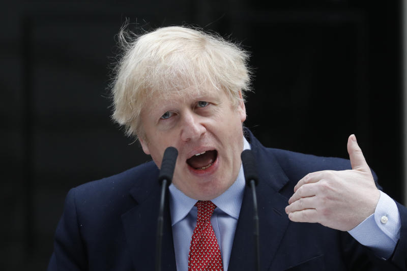 British Prime Minister Boris Johnson makes a statement on his first day back at work in Downing Street, London, after recovering from a bout with the coronavirus that put him in intensive care, Monday, April 27, 2020. The highly contagious COVID-19 coronavirus has impacted on nations around the globe, many imposing self isolation and exercising social distancing when people move from their homes. (AP Photo/Frank Augstein)
