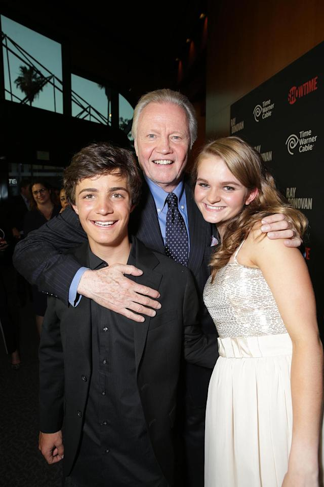 Devon Bagby, Jon Voight, and Kerris Dorsey at the Showtime premiere of the new drama series Ray Donovan presented by Time Warner Cable, on Tuesday, June, 25, 2013 in Los Angeles. (Photo by Eric Charbonneau/Invision for Showtime/AP Images)