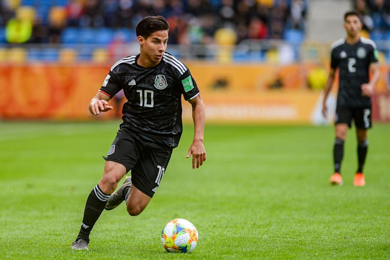 CITY STADIUM, GDYNIA, POMERANIA, POLAND - 2019/05/23: Diego Lainez from Mexico seen in action during the FIFA U-20 World Cup match between Mexico and Italy (GROUP B) in Gdynia. ( Final score; Mexico 1:2 Italy ). (Photo by Mateusz Slodkowski/SOPA Images/LightRocket via Getty Images)