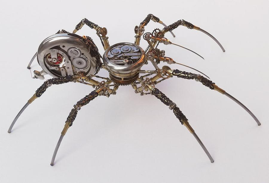"""Hungarian artist, Peter Szucsy, makes stunning """"steampunk spiders"""" out of antique watch parts."""