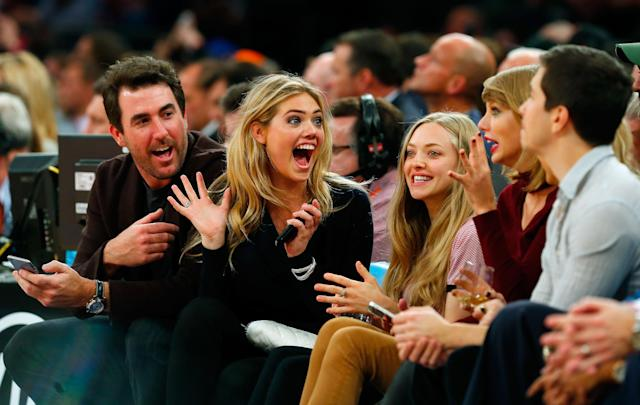 <p>Justin Verlander, Kate Upton, Amanda Seyfried, Taylor Swift and Justin Long attend a game between the New York Knicks and the Orlando Magic at Madison Square Garden on November 12, 2014 in New York City. The Magic defeated the Knicks 97-95. </p>