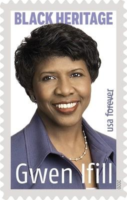 Gwen Ifill, one of America's most esteemed journalists, is honored on the 2020 Black Heritage Forever stamp being issued by the U.S. Postal Service, Jan. 30.