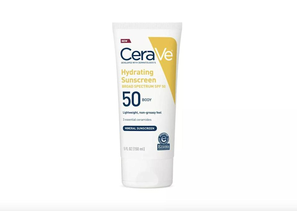 <p>Not only is <span>CeraVe Hydrating Sunscreen Body Lotion - SPF 50</span> ($16) filled with zinc oxide to fight those Summer rays, but it also contains hyaluronic acid to help your skin stay moisturized.</p>