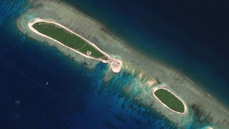 Satellite photo shows Chinese-controlled North Island, part of the Paracel Islands group in the South China Sea