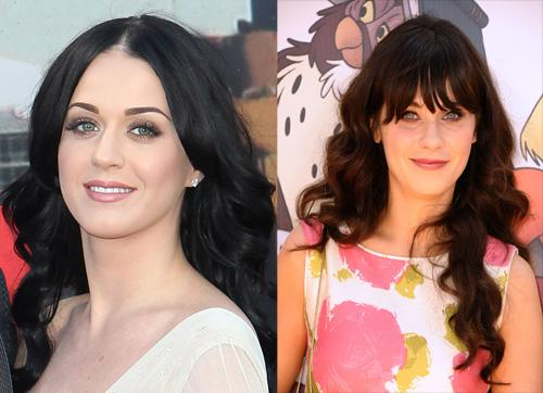 "<p class=""MsoNormal"">Katy Perry and Zooey Deschanel</p><p class=""MsoNormal"">Back before Katy used a crayon box for hair color inspiration, her long dark tresses and blue saucer eyes made her look like Zooey's twin. </p>  <p class=""MsoNormal"">(Photo: Fred Duval/FilmMagic; Jason LaVeris/FilmMagic)</p>"