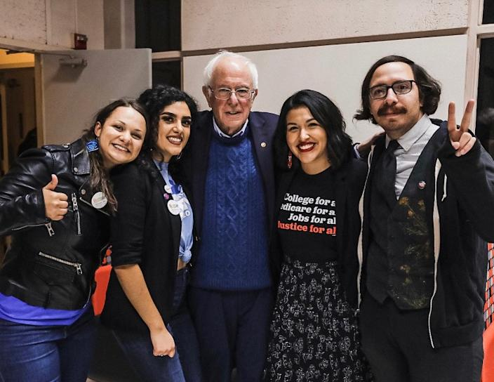 "Jewel Hurtado, 21, second from right, with Sen. Bernie Sanders after he spoke at a rally in Fresno. <span class=""copyright"">(Jewel Hurtado)</span>"