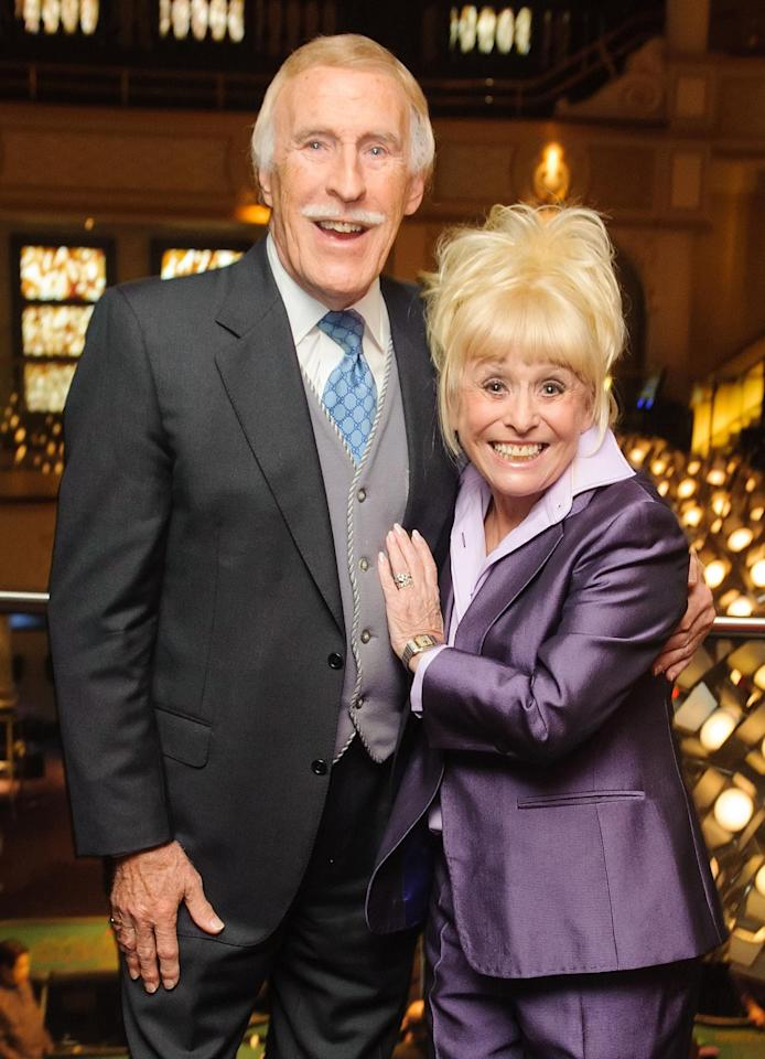 <p>Sir Bruce Forsyth and Barbara Windsor in 2013 at the 30 year reunion of the cast and crew of 'The Talk of the Town', at the Hippodrome Casino in central London </p>