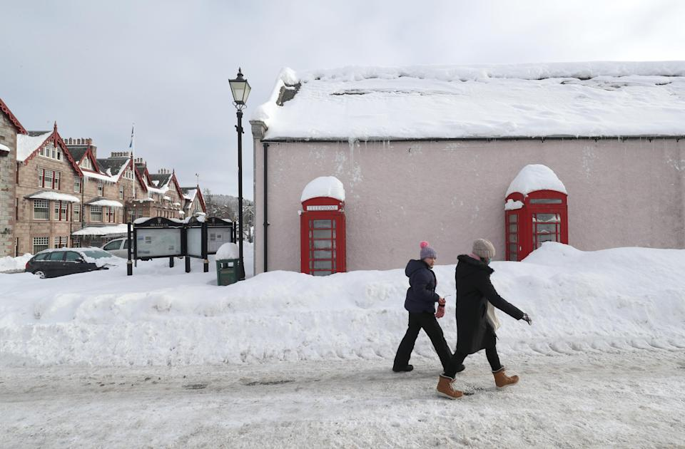 Snowy conditions in Braemar, Aberdeenshire, which had an overnight temperature of minus 23.0C (minus 9.4F). The village, which is near Balmoral Castle, the summer residence of Queen Elizabeth II, recorded the lowest temperature in the UK in more than two decades, following an
