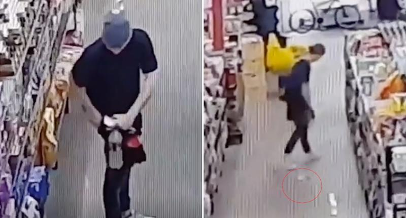 Stills from the security vision of the attempted shoplifter trying to hide hot pasta down his pants.